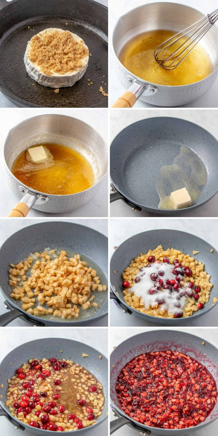 Step-by-step photo collage showing how to make baked brie with apple cranberry topping.