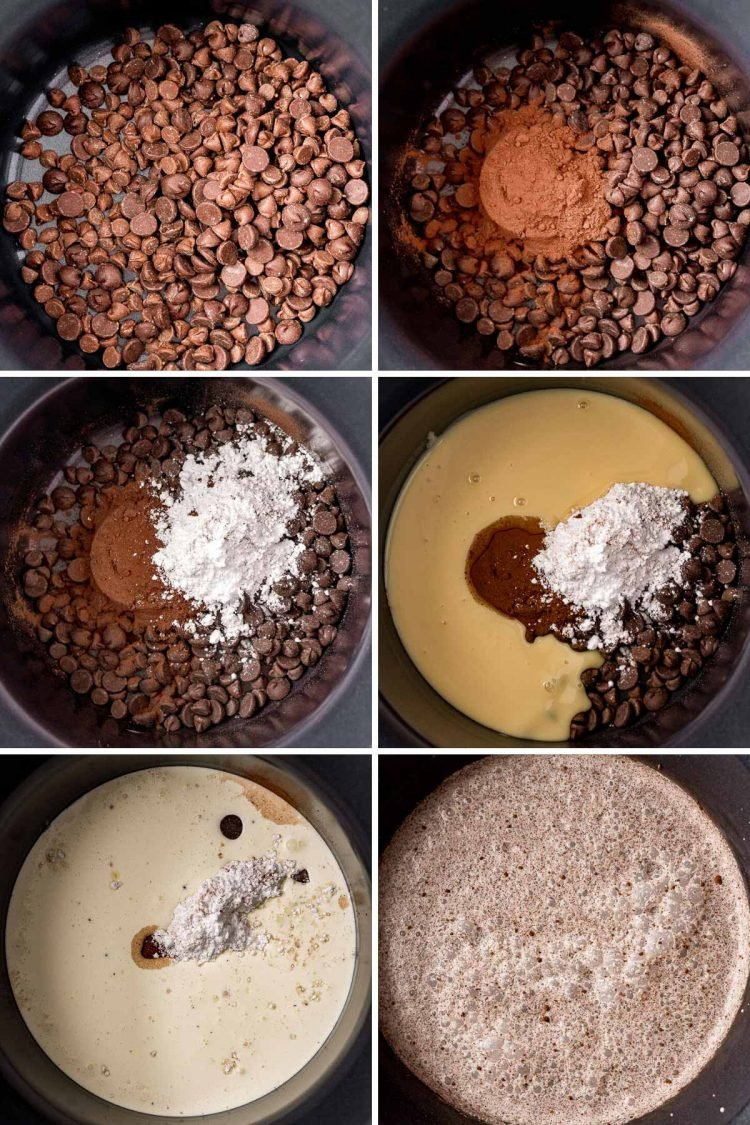 Step-by-step photo collage showing how to make hot chocolate in a crockpot.