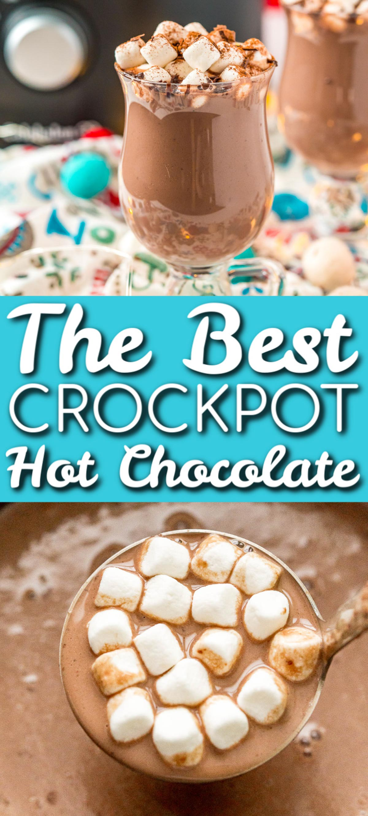 Crockpot Hot Chocolate is made with heavy cream, milk, sweetened condensed milk, chocolate, cocoa powder, and vanilla for the perfect hot drink for holiday parties and gatherings. via @sugarandsoulco