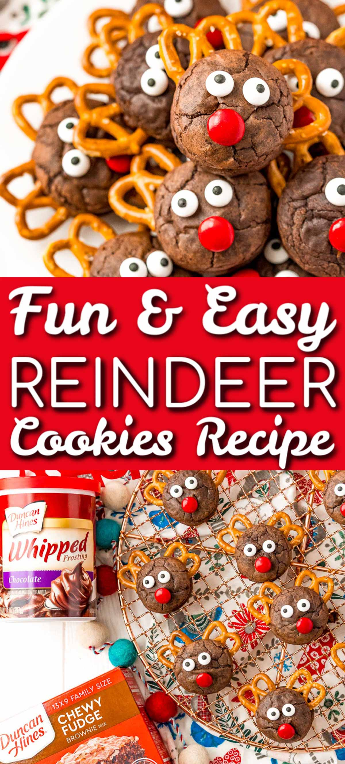 Reindeer Cookies are a festive recipe made with brownie sandwich cookies, frosting, pretzels, chocolate candies, and candy eyes! The best part about these treats is the whole family can help with the decorating! via @sugarandsoulco