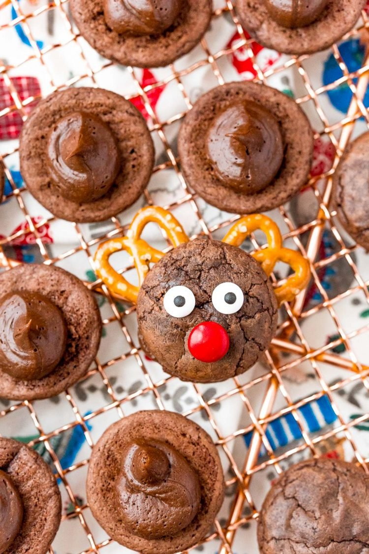 Reindeer cookies on a wire rack.