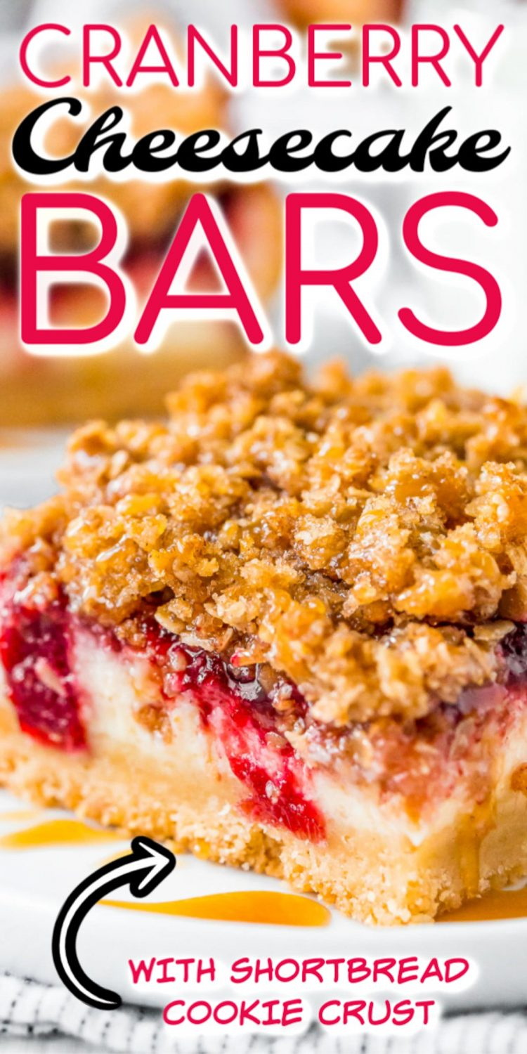 Close up photo of cranberry cheesecake bars with text overlay.