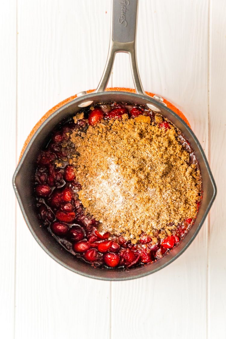 Cranberries and  brown sugar and spices in a medium saucepan.
