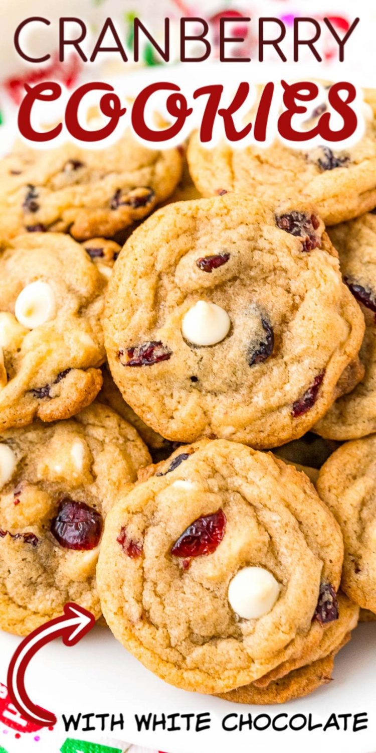 Close up photo of cranberry cookies with a text overlay for pinterest.