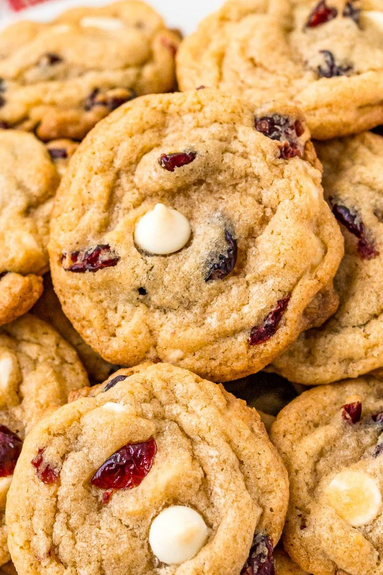 Close up photo of Cranberry white chocolate chip cookies.