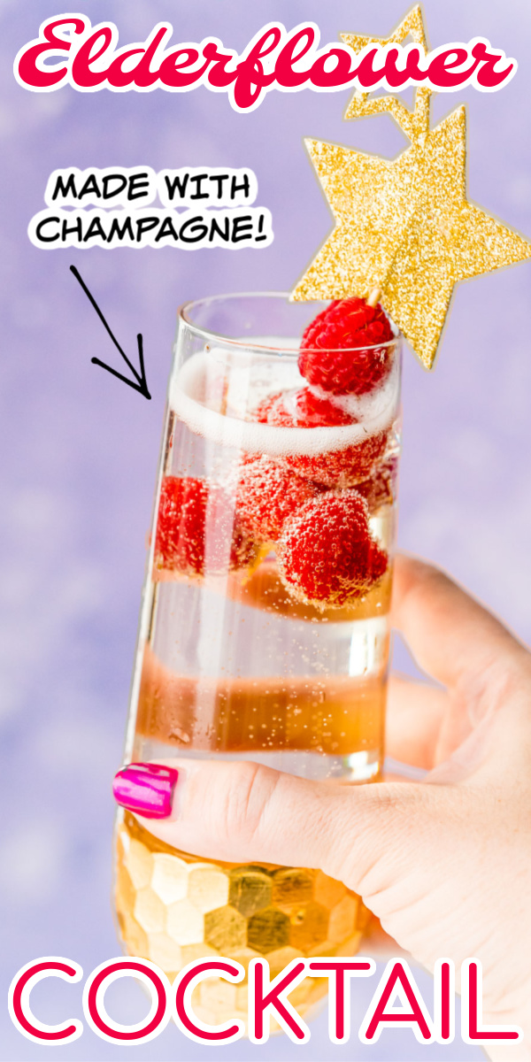 Elderflower Champagne Cocktail is made with raspberries, simple syrup, elderflower liqueur, and champagne. It's a simple and sophisticated bubbly drink that's perfect for celebrations!  via @sugarandsoulco