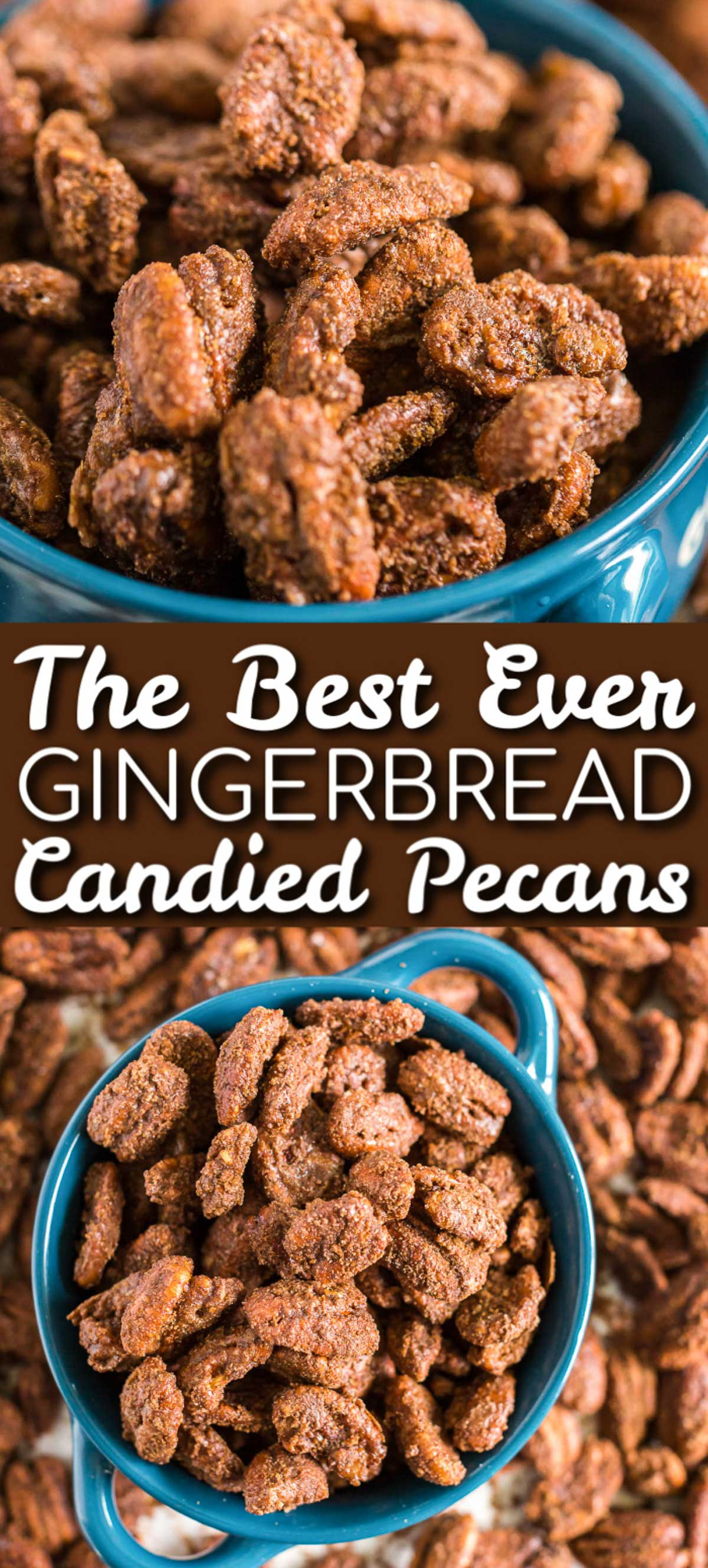Gingerbread Candied Pecans can add holiday spice to salads, pies, or nut mixes. Package them in a jar and tie with a ribbon, you have a perfect DIY hostess gift!  via @sugarandsoulco