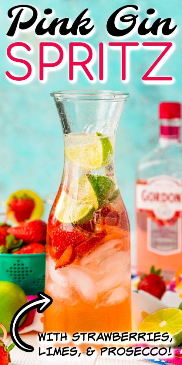 This Pink Gin Spritz is made with pink gin, prosecco, soda, lime juice, and fresh strawberries for a delightfully fruity cocktail that's not too sweet! via @sugarandsoulco
