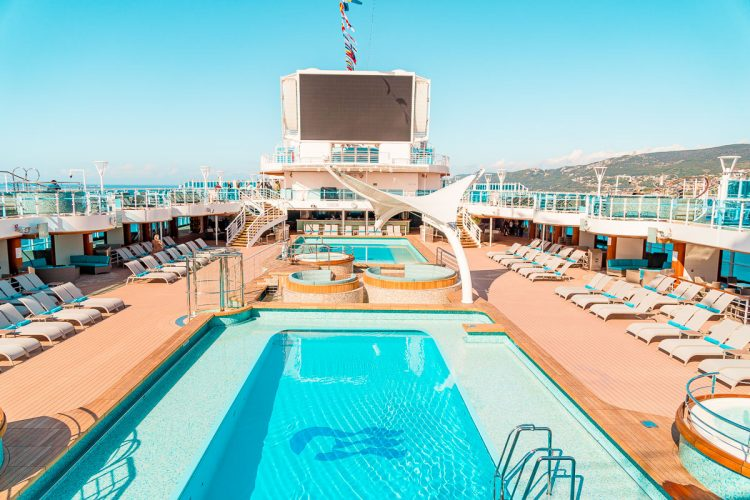 Pool area of the Sky Princess Cruise Ship