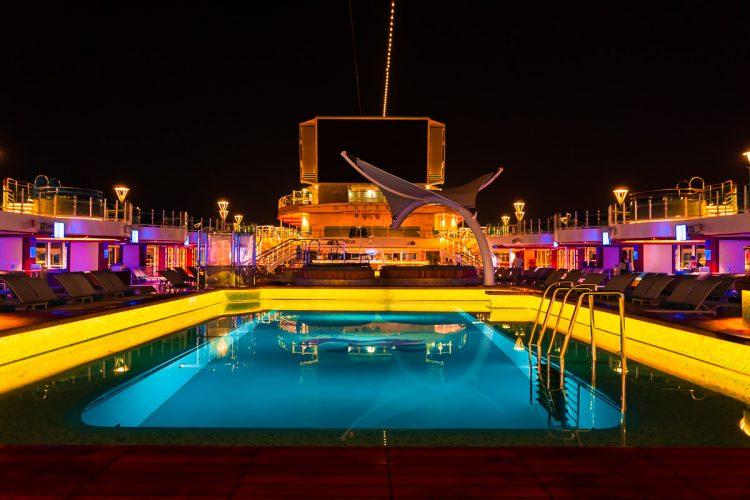Night on the sky princess pool deck.