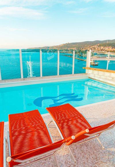 Wake View Pool on the Sky Princess cruise ship.