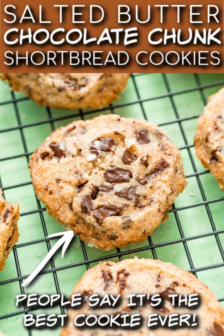 Chocolate Chunk Shortbread Cookies with text overlay for pinterest.