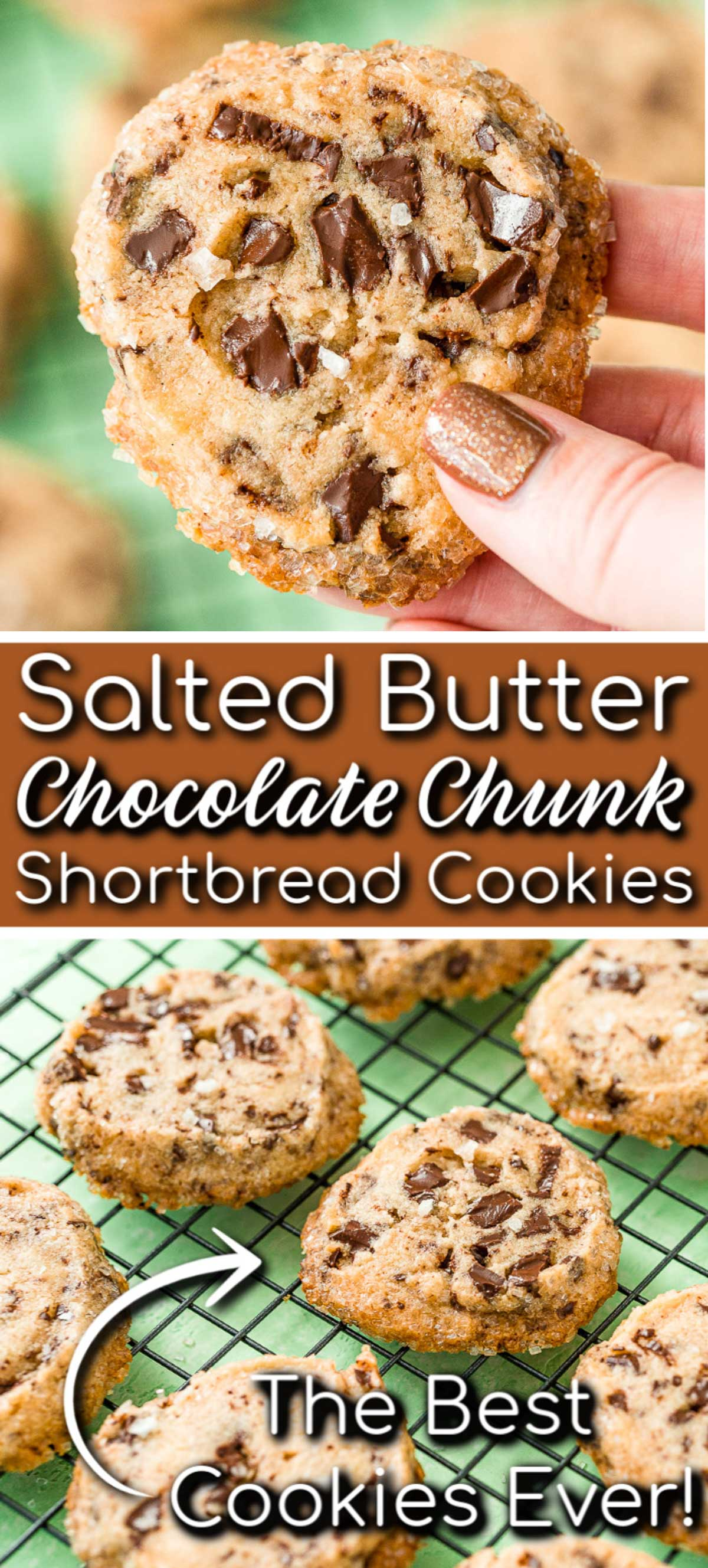 Salted Chocolate Chunk Shortbread Cookies took the internet by storm with their delicious sugar crust and crisp texture laced with chocolate and sprinkled with flaky sea salt! via @sugarandsoulco
