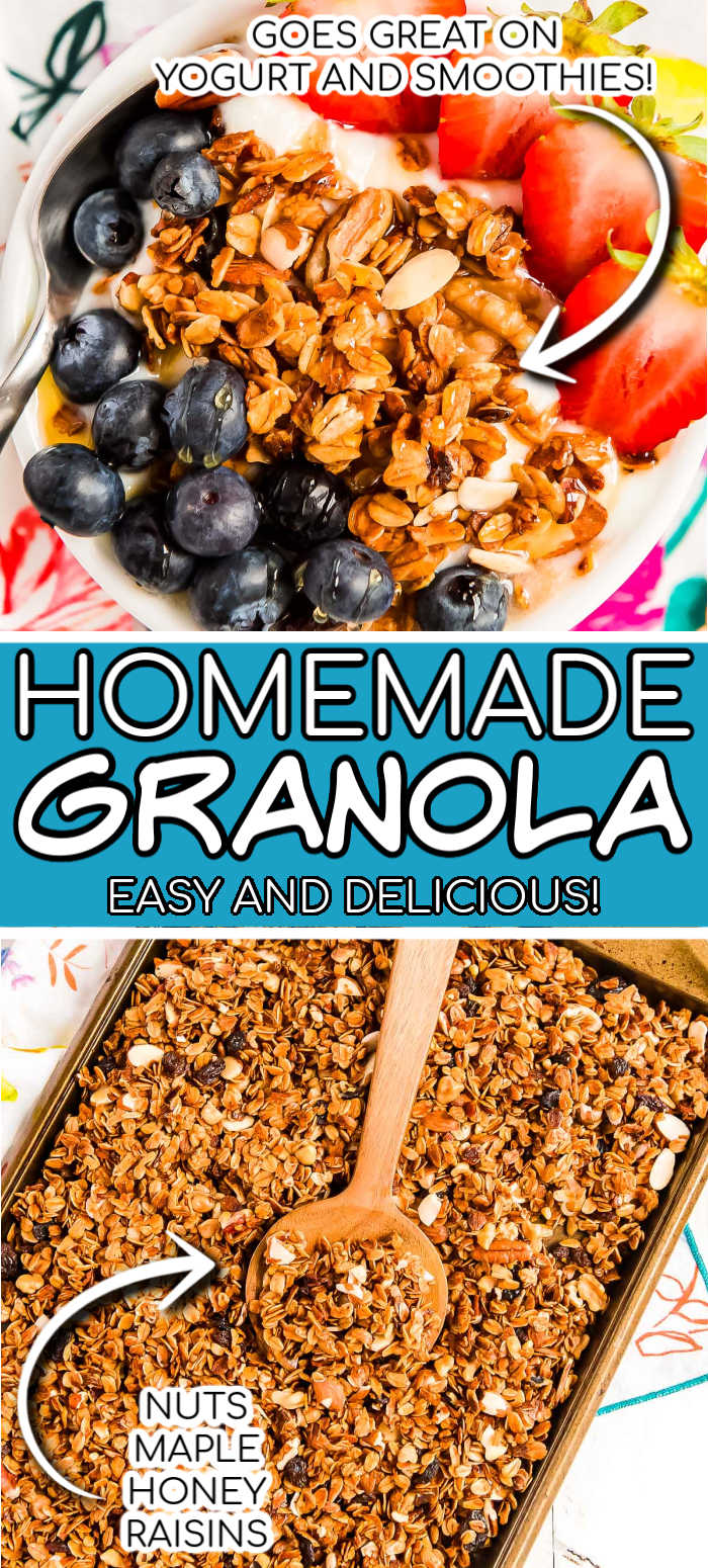 Homemade Granola is sweetened with honey and the oats are loaded with spices, nuts, and dried fruits for a delicious crunchy granola recipe you'll want to put on everything. via @sugarandsoulco