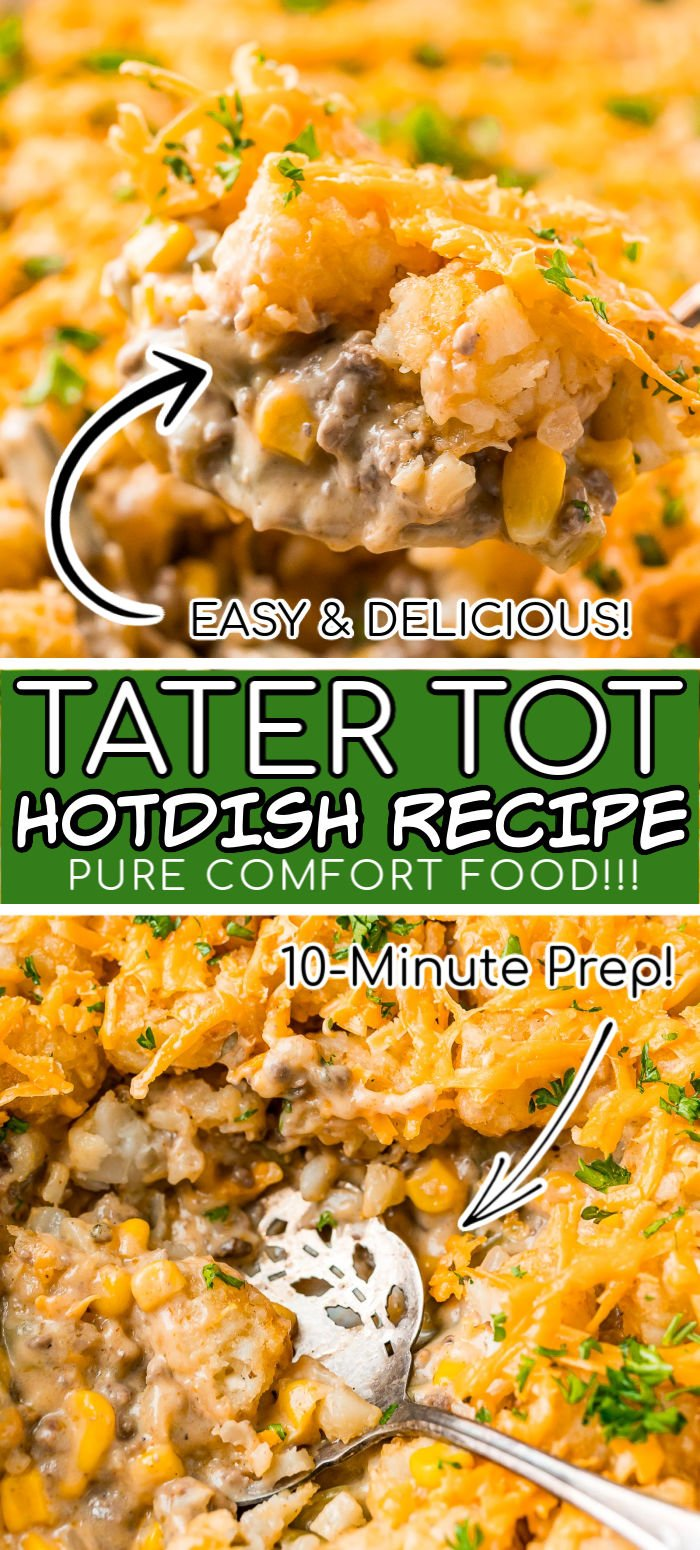 Tater Tot Hotdish is a delicious and easy casserole made with ground beef, veggies, Worcestershire sauce, cream of cheddar cheese soup, cream of mushroom soup, and spices for a family favorite meal! via @sugarandsoulco