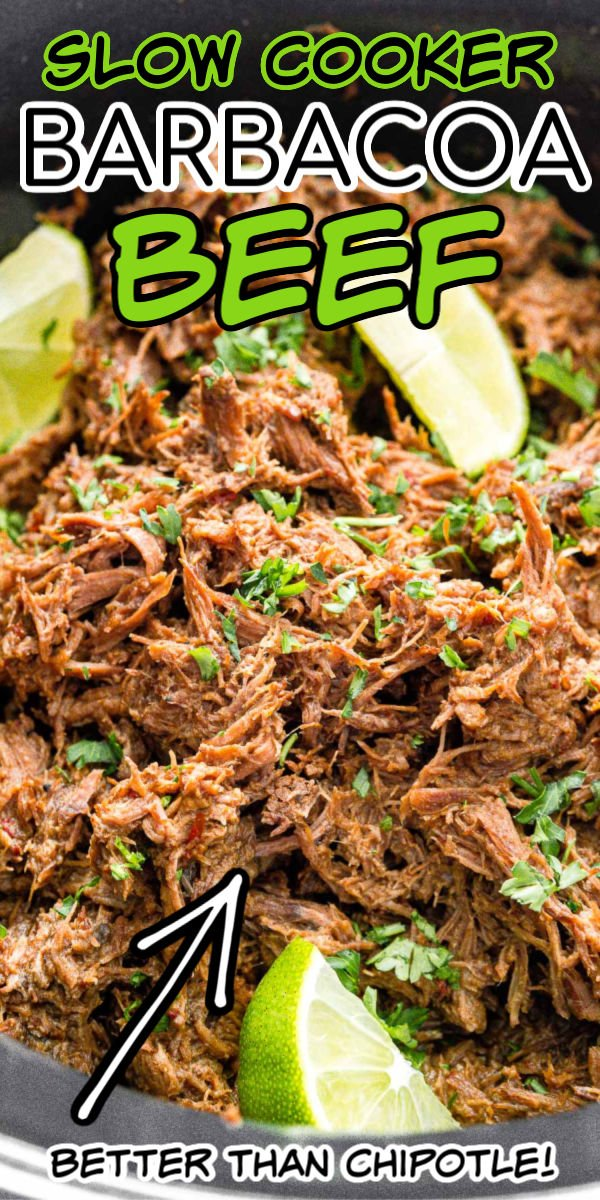 Barbacoa Beef Recipe is a delicious and easy slow cooker dish made with chipotle peppers, adobo sauce, brown sugar, garlic, cumin, cloves, and limes for a spicy crowd favorite! via @sugarandsoulco