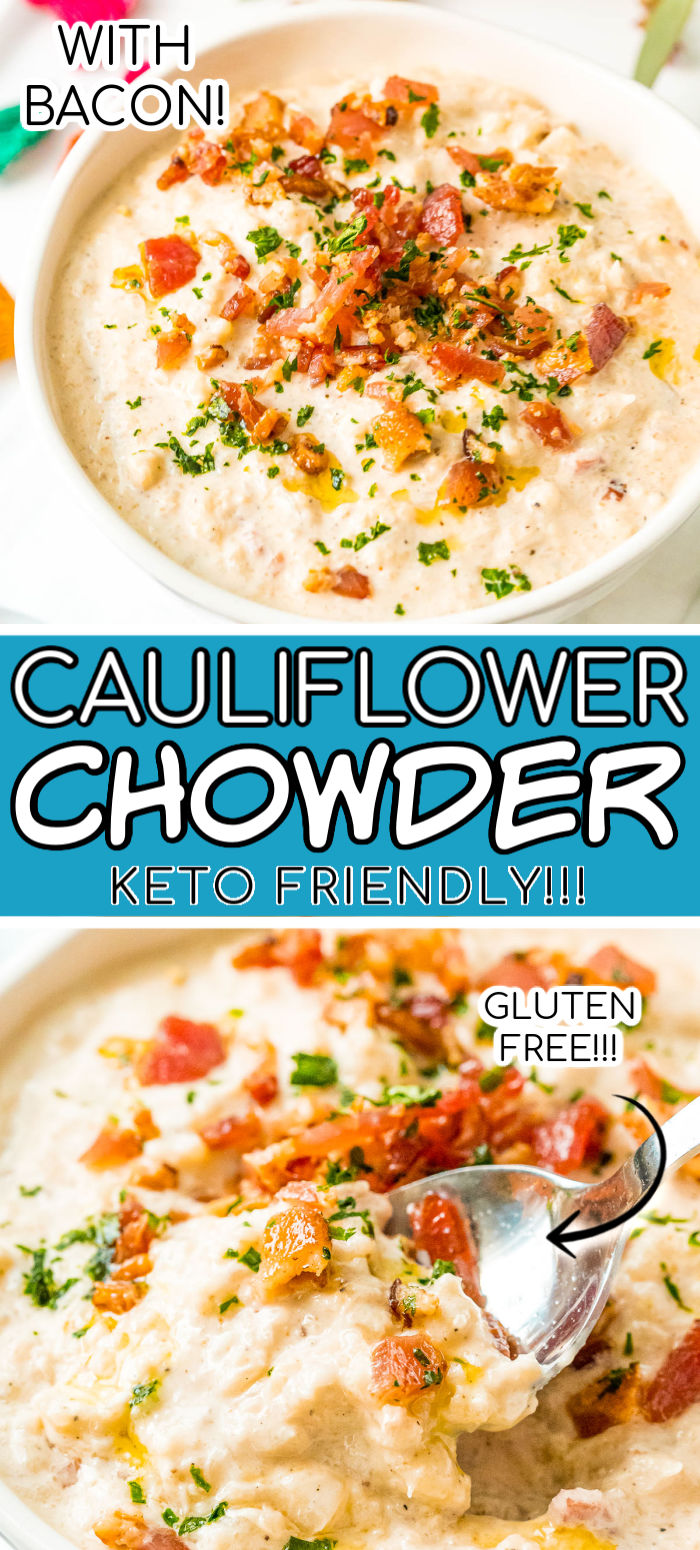 Bacon Cauliflower Chowder is gluten-free and keto-friendly and loaded with salty bacon, cream cheese, cauliflower, and seasoning for a delicious chowder recipe you'll want to make again and again! via @sugarandsoulco