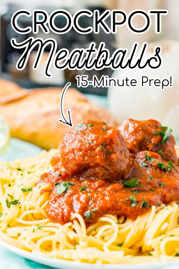 These Crockpot Meatballs are the ultimate slow-cooked dinner. Enjoy homemade Italian Meatballs in a rich tomato sauce with just a 15-minute prep! Serve them over spaghetti or Spaghetti Squash for everyone's favorite Spaghetti and Meatballs or add them to a toasted sub roll! via @sugarandsoulco