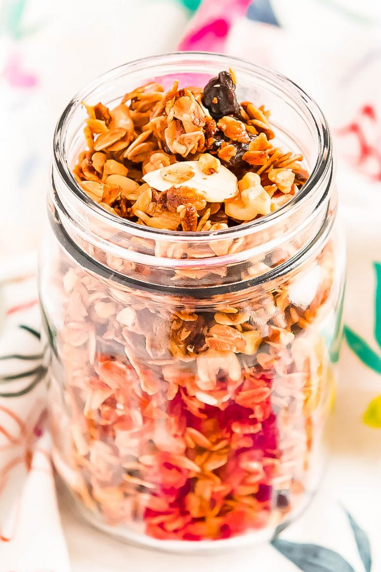 Granola in a large mason jar.