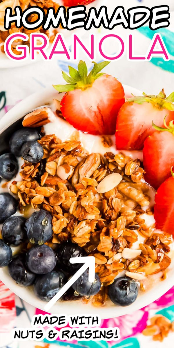 Close up photo of granola and fruit in a bowl with yogurt.
