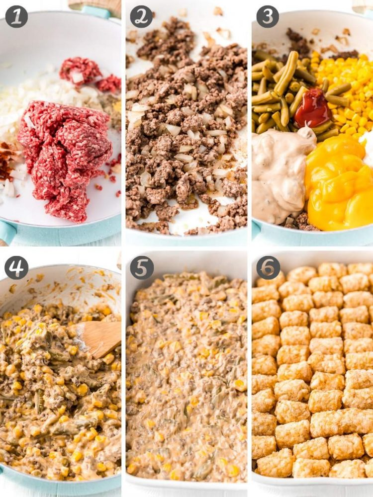 Step by step photo collage showing hot to make a tater tot hotdish.