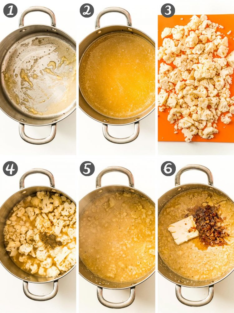 Step by step photo collage showing how to make cauliflower chowder.