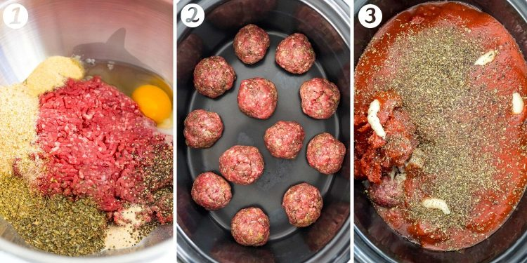 Step by step photo collage showing how to make meatballs in a crockpot