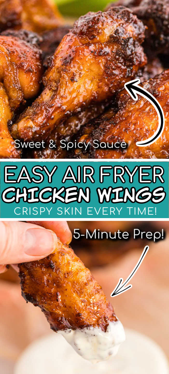 Want perfectly crispy Chicken Wings with your air fryer? You've got to make this recipe! These lip-smacking honey sriracha chicken wings and drumettes are so full of flavor you will go back for more! Made with honey, molasses and Sriracha sauce and a killer rub! via @sugarandsoulco