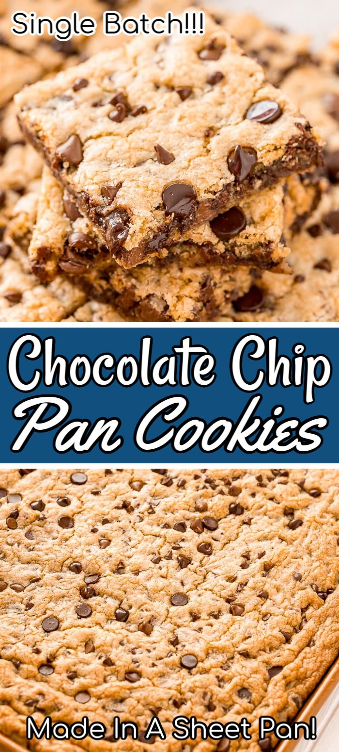 Skip the scooping and multiple batches and make Chocolate Chip Pan Cookies instead! They are tender, chewy, easy and perfect for a crowd! via @sugarandsoulco
