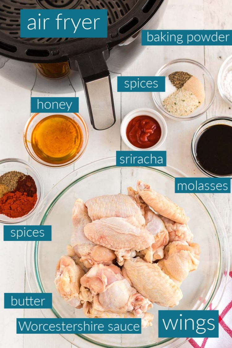 Overhead photo of ingredients to make air fryer chicken wings.
