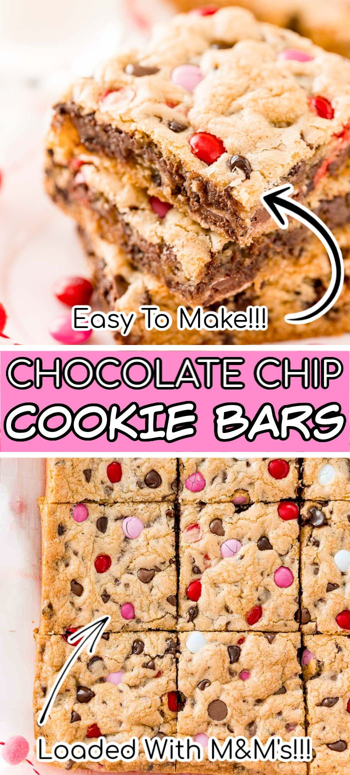 Do you love Chocolate Chip Cookies? Then you're going to LOVE these Chocolate Chip Cookie Bars! They're thick, sweet, chewy and loaded with chocolate chips and M&M's! Did I mention this great recipe is super easy to make and there's no cookie scoops and minimal bake time! via @sugarandsoulco