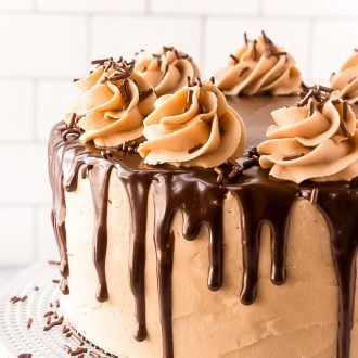 Close up photo of a layer cake with chocolate ganache dripping over the edge.