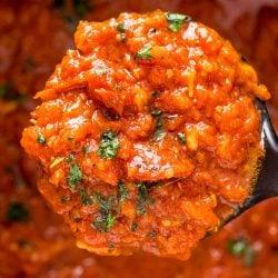 Close up photo of a ladle of marinara sauce.