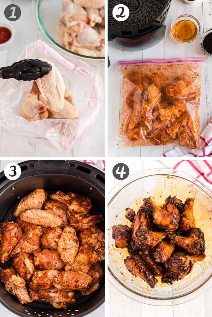 step-by-step photo collage showing how to make chicken wings in the air fryer.