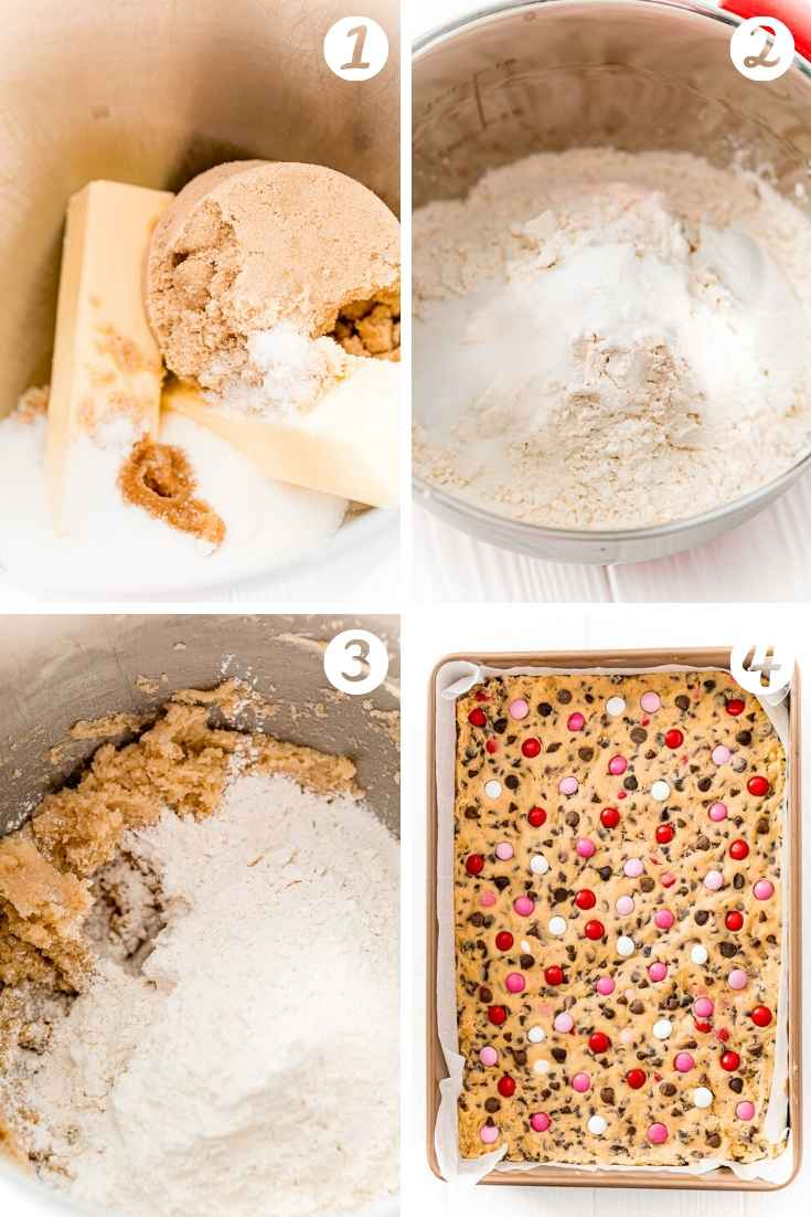 Step by step photo collage showing how to make chocolate chip cookie bars.