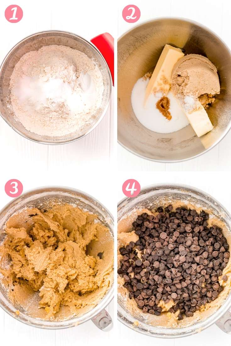 step-by-step photo collage showing how to make chocolate chip pan cookies.