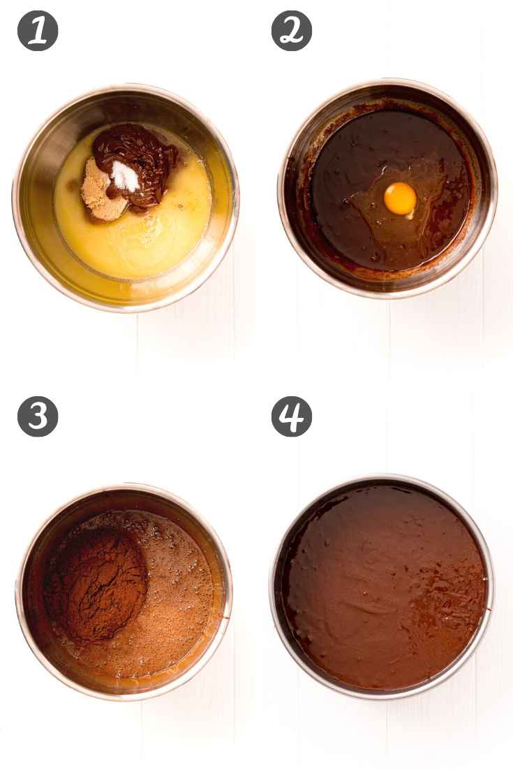 step by step photo collage showing how to make a flourless chocolate cake.