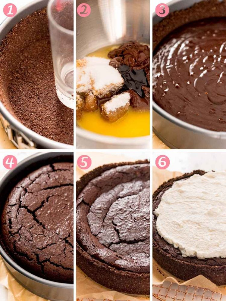 Step by step photo collage showing how to make Mississippi Mud Pie.