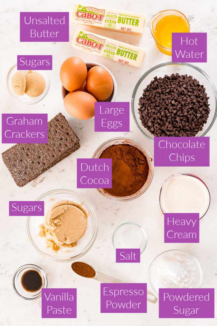 Photo with text overlay showing the ingredients for Mississippi mud pie.