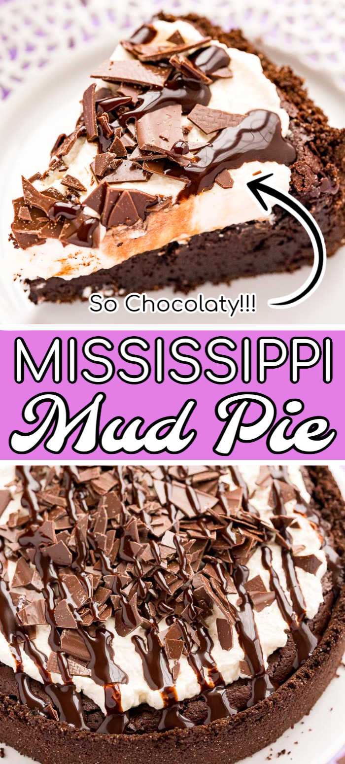 This Mississippi Mud Pie is a rich and indulgent dessert made with flourless chocolate filling topped with whipped cream in a buttery chocolate graham cracker crust - lord have mercy on our waistlines. via @sugarandsoulco