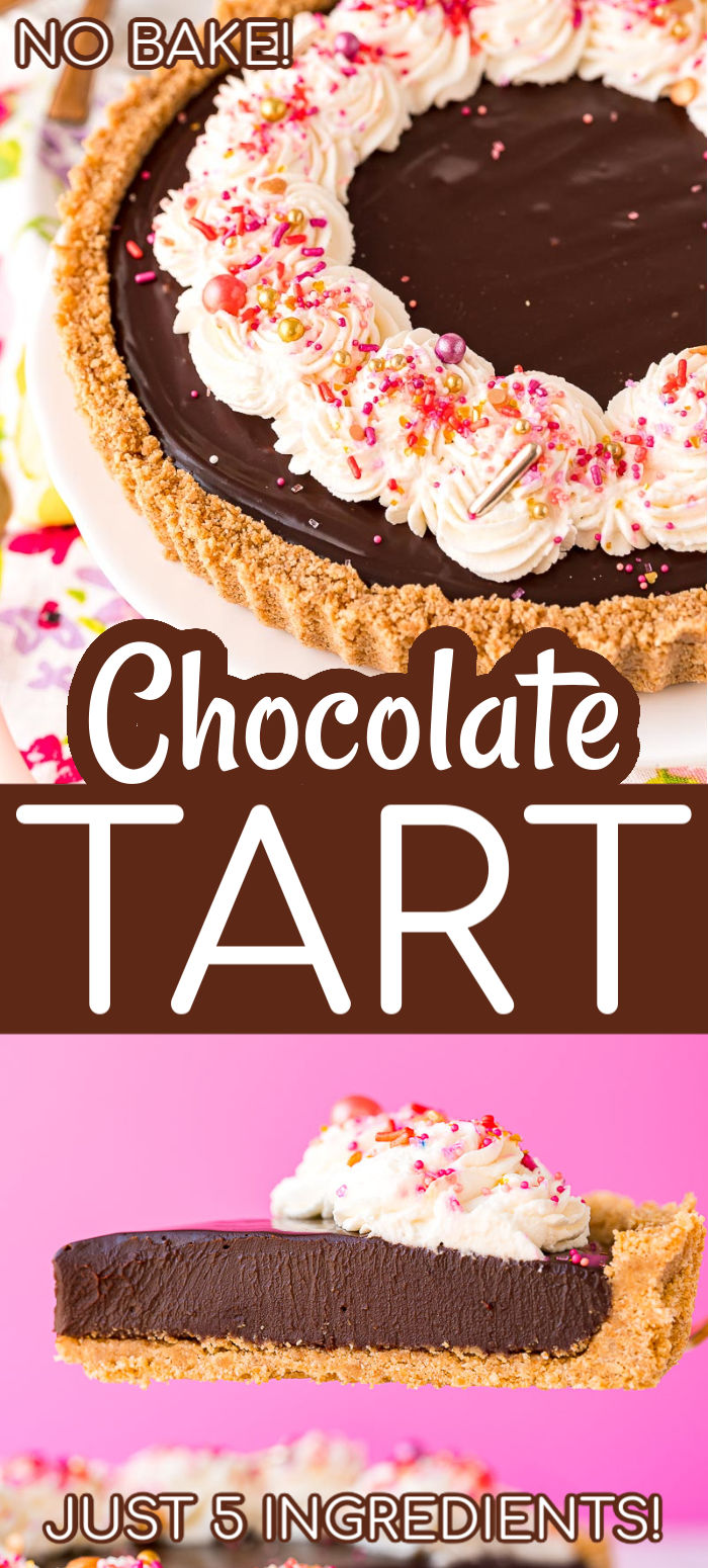 You only need 5 ingredients to make this rich Chocolate Tart — no baking required! Made with a graham cracker crust and ganache filling then topped with whipped cream, it's totally irresistible. This is the perfect indulgence to share with loved ones because it's meant to be savored slowly.  via @sugarandsoulco