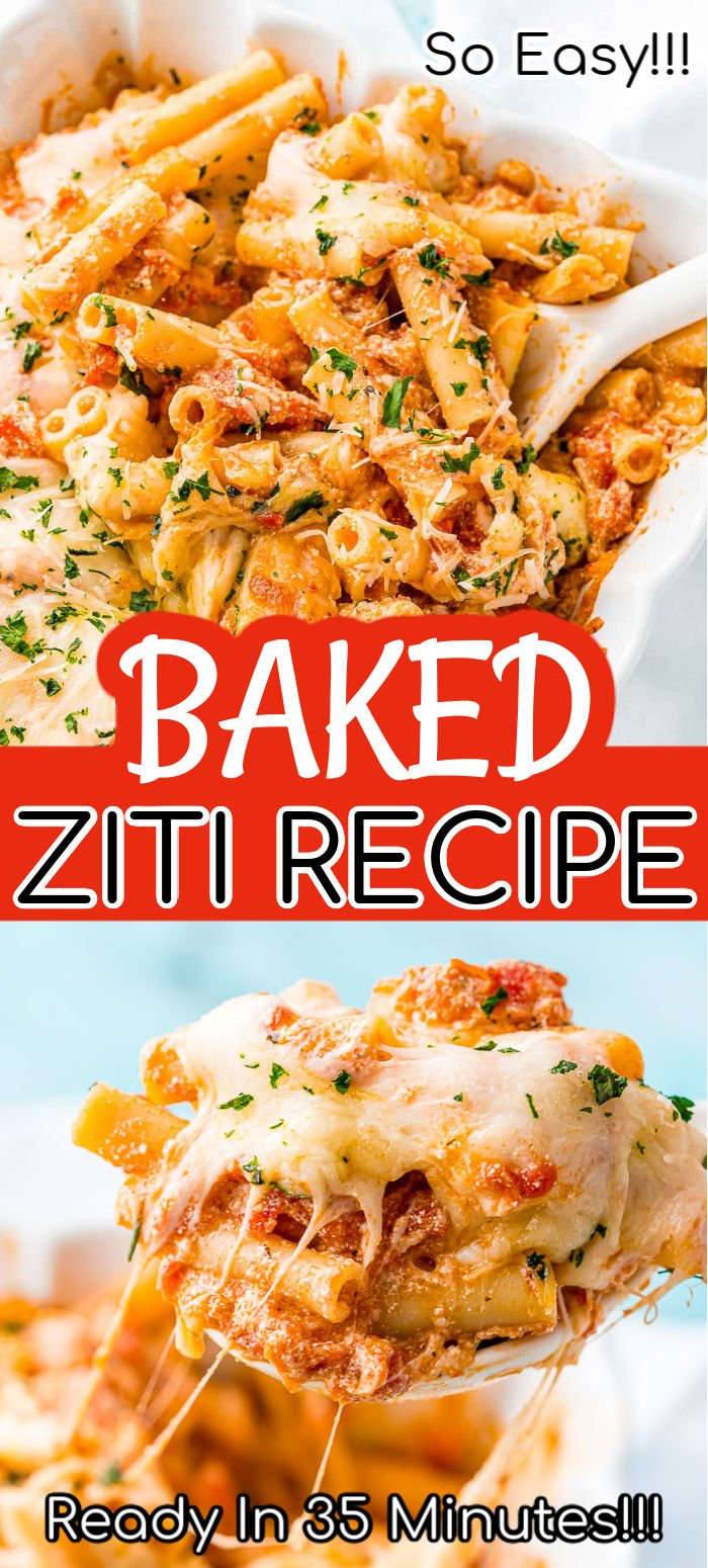 Baked Ziti is a deliciously comforting dish made with melty mozzarella, creamy ricotta, zesty marinara, and tender ziti noodles. It's easy to make in about 35 minutes — just toss everything together, bake, and enjoy!  via @sugarandsoulco