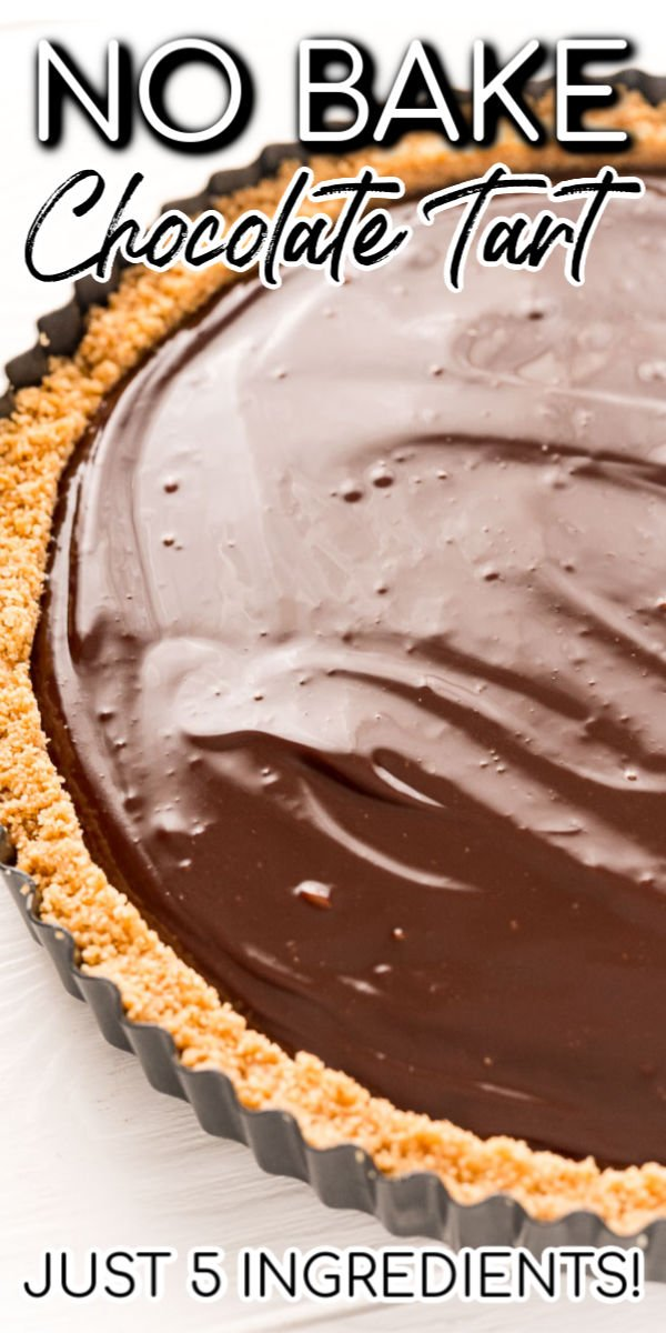 You only need 5 ingredients to make this rich Chocolate Tart — no baking required! Made with a graham cracker crust and ganache filling then topped with whipped cream, it's totally irresistible. via @sugarandsoulco