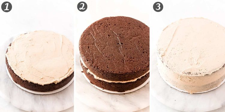 step-by-step photo collage showing how to assemble a cookie butter layer cake.