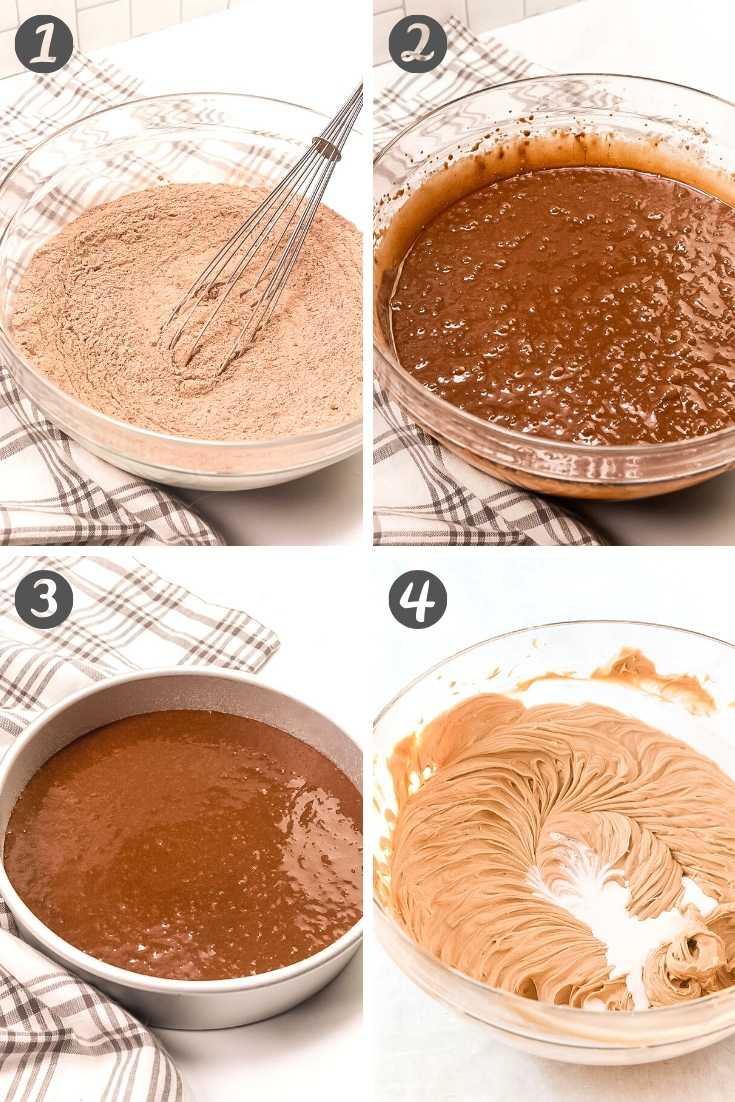 step-by-step photo collage showing how to make cookie butter cake.
