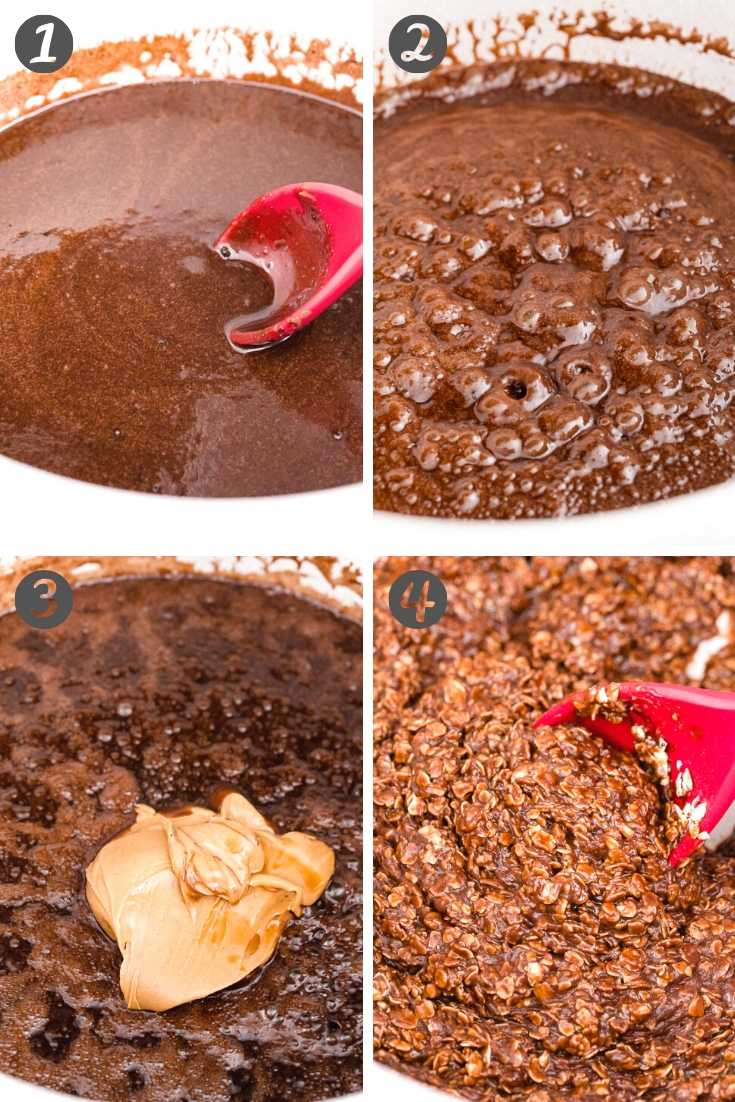 Step-by-step photo collage showing how to make chocolate no bake cookies with oatmeal.