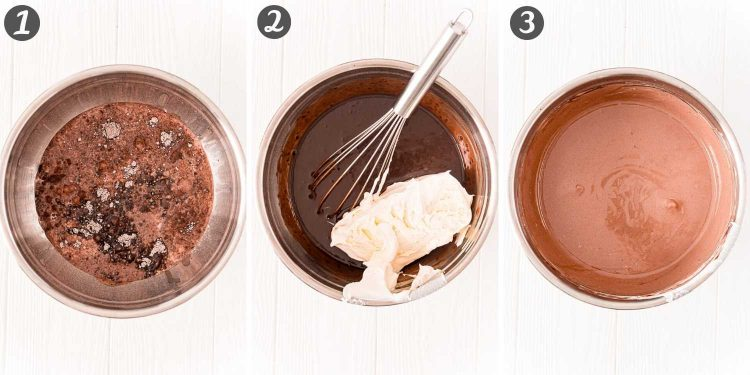 Step-by-step photo collage showing how to make pudding shots.