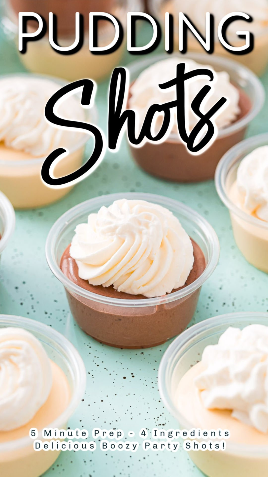 Pudding Shots are the drink/dessert combo you need for your next adult get-together! Requiring only 5 minutes of prep and 4 ingredients, you can make these with your choice of instant pudding and booze flavors.  via @sugarandsoulco