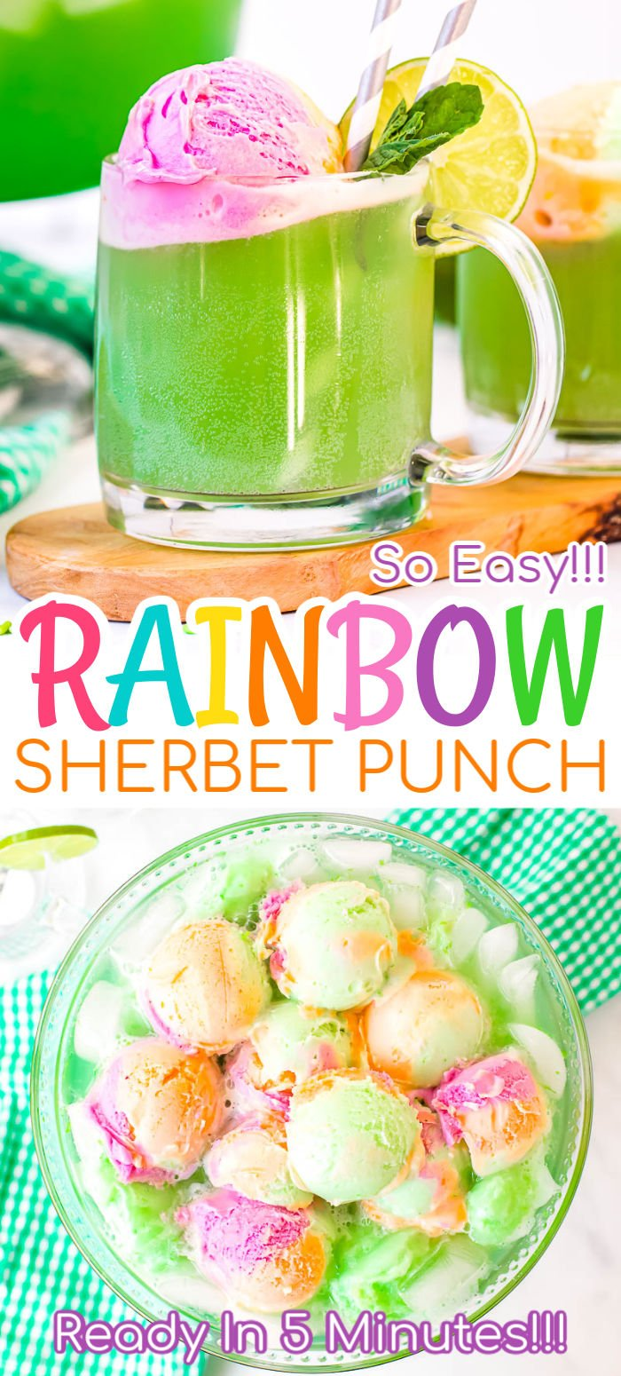 Rainbow Sherbet Punch is an easy 5-minute recipe perfect for parties! It's made with sparkling grape juice, lemon-lime soda, and lots of sherbet for a sweet party drink! via @sugarandsoulco