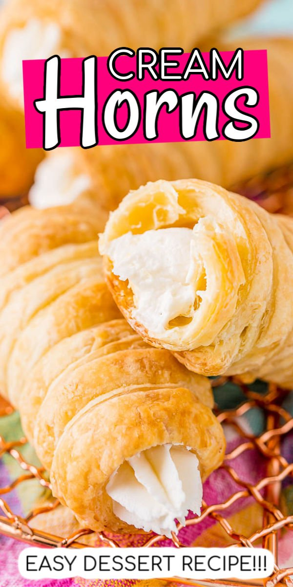 This easy Cream Horns recipe is made with puff pastry that's wrapped and baked until golden a flaky and filled with a sweet and fluffy cream filling!  via @sugarandsoulco